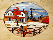 Frame House Prints - Vintage Needlework Country Scene Print by Marilyn Hunt