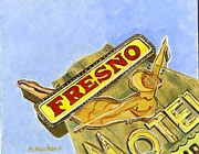 Motel Painting Prints - Vintage Neon- Fresno Motel Print by Sheryl Heatherly Hawkins