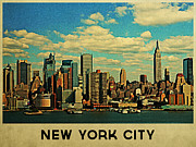 New York City Skyline Framed Prints - Vintage New York City Skyline Framed Print by Vintage Poster Designs