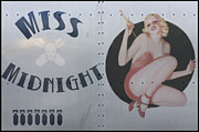 Airplane Digital Art Prints - Vintage Nose Art Miss Midnight Print by Cinema Photography