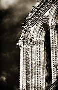 Brown Toned Art Prints - Vintage Notre Dame Details Print by John Rizzuto