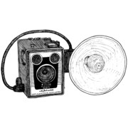 Photo Drawings Posters - Vintage Old Brownie Camera Poster by Karl Addison