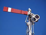Metal Pole Photos - Vintage Old Train Signal by Yali Shi