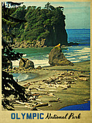 Olympic Peninsula Posters - Vintage Olympic National Park Washington Poster by Vintage Poster Designs