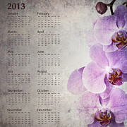 Parchment Photo Prints - Vintage orchid calendar 2013 Print by Jane Rix