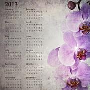 Vintage Orchid Calendar 2013 Print by Jane Rix