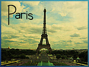 Paris Metal Prints - Vintage Paris Eiffel Tower Metal Print by Vintage Poster Designs