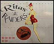 B17 Photographs Prints - Vintage Pinup Nose Art Ritas Raiders Print by Cinema Photography