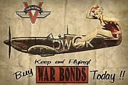 Warbirds Prints - Vintage Pinup Warbond Ad Print by Cinema Photography