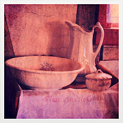 Old Pitcher Prints - Vintage Pitcher and Wash Basin Print by Jill Battaglia