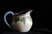 Hand Thrown Pottery Photo Prints - Vintage Pitcher  Print by Nancy Greenland