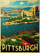 Rivers Digital Art Framed Prints - Vintage Pittsburgh Pennsylvania Framed Print by Vintage Poster Designs