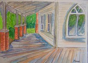 Belinda Lawson Prints - Vintage Porch with Gothic Window Print by Belinda Lawson