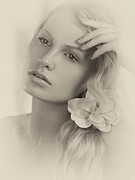 Beauty-treatment Posters - Vintage Portrait of a Beautiful Young Woman Poster by Oleksiy Maksymenko