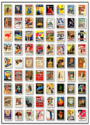 Yellow Line Framed Prints - Vintage Poster Collection Large Framed Print by Maria Szollosi