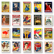 Yellow Line Framed Prints - Vintage Poster Collections 02 Framed Print by Maria Szollosi