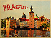 Czech Republic Digital Art Metal Prints - Vintage Prague Metal Print by Vintage Poster Designs