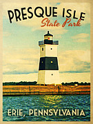 Lighthouses Digital Art Prints - Vintage Presque Isle Lighthouse Print by Vintage Poster Designs