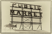 Farmers Market Framed Prints - Vintage Public Market Sign Framed Print by David Patterson