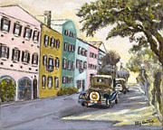 Rainbow Row Paintings - Vintage Rainbow Row by Liz Dettrey