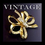 Vintage Jewelry Posters - Vintage Rhinestone Bow Pin Poster by Jai Johnson