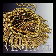 Vintage Jewelry Posters - Vintage Rhinestone Lion Necklace Poster by Jai Johnson