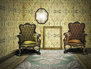 Luxurious Prints - Vintage Room Interior Print by Setsiri Silapasuwanchai