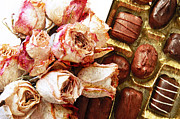 Snack Mixed Media Posters - Vintage Roses And Chocolates Painterly Poster by Andee Photography