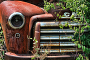 American Motors Corporation Prints - Vintage Rusty Dusty GMC Graveyard Truck Print by Kathy Clark