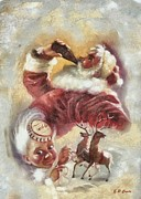 Santa Claus Paintings - Vintage Santa by Elizabeth Coats