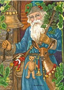 Horn Bear Framed Prints - Vintage Santa in Blue Framed Print by Mary Dunham Walters