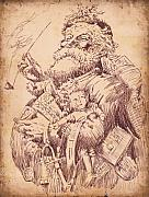 Sepia Ink Drawings - Vintage Santa by Robbi  Musser