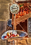 Peaches Art - Vintage Scale at Fruitstand by Jill Battaglia