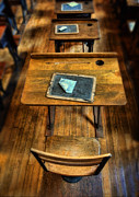 Schoolhouse Posters - Vintage School Desks Poster by Jill Battaglia