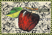Textile Mixed Media - Vintage Script Apple Print by Anahi DeCanio