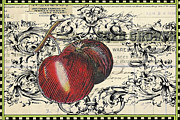 Textile Mixed Media - Vintage Script Fruit Print by Anahi DeCanio