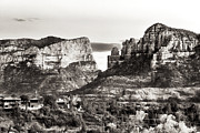 Brown Toned Art Framed Prints - Vintage Sedona Range Framed Print by John Rizzuto