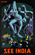 Goddess Kali Framed Prints - Vintage See India Travel Poster  Framed Print by George Pedro