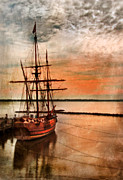 Docked Boat Posters - Vintage Ship Docked at Sunset Poster by Jill Battaglia