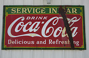 Fun Signs Posters - Vintage Sign Coca Cola Poster by Bob Christopher