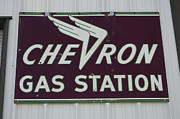 Fun Signs Posters - Vintage Sign For Chevron Gas Stations Poster by Bob Christopher