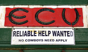 Fun Signs Posters - Vintage Sign For Cowboys Poster by Bob Christopher