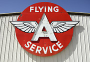Fun Signs Posters - Vintage Sign For Flying A Service Poster by Bob Christopher