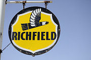 Fun Signs Posters - Vintage Sign For Richfield Poster by Bob Christopher