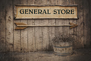 Vintage Wall Framed Prints - Vintage sign General Store Framed Print by Jane Rix