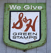 Just For Fun Posters - Vintage Sign We Give Green Stamps Poster by Bob Christopher