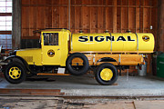 Old Trucks Framed Prints - Vintage Signal Gasoline Truck . 7D12935 Framed Print by Wingsdomain Art and Photography