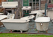 Bath Tubs Posters - Vintage Sinks and Clawfoot Tubs Somewhere In Maine Poster by Anne Kitzman