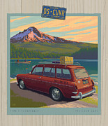 Vacation Digital Art Prints - Vintage Squareback at Trillium Lake Print by Mitch Frey