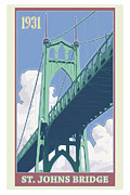 River Digital Art Posters - Vintage St. Johns Bridge Travel Poster Poster by Mitch Frey